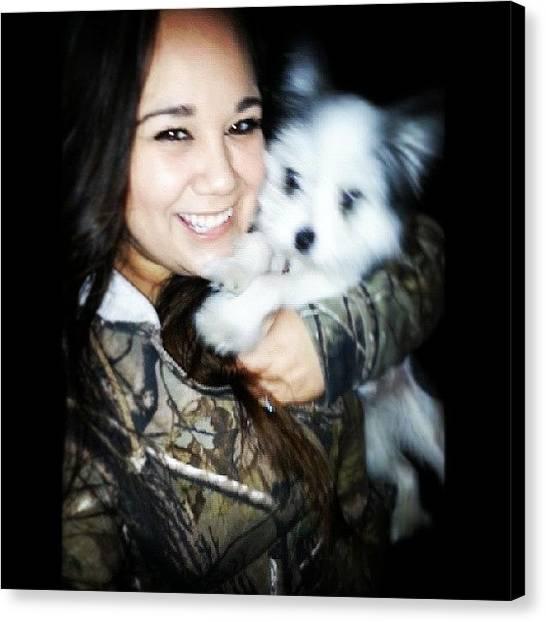 Pomeranians Canvas Print - My Baby Girl #baby #puppy #puppydog by Becky Gonzalez