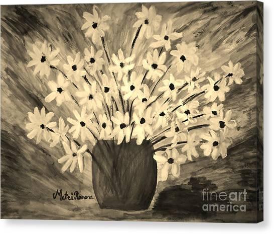 My Daisies Sepia Version Canvas Print