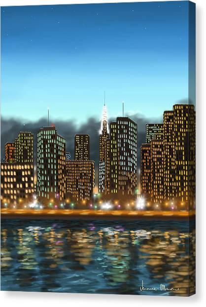 Manhattan Skyline Canvas Print - My Dream by Veronica Minozzi