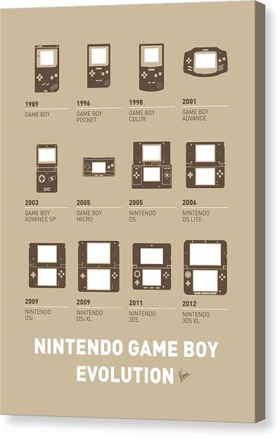 Surfboard Canvas Print - My Evolution Nintendo Game Boy Minimal Poster by Chungkong Art