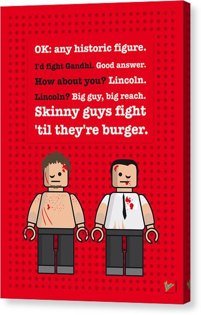 Fighting Canvas Print - My Fight Club Lego Dialogue Poster by Chungkong Art