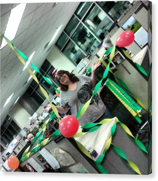 Happy Birthday Canvas Print - My #friends #decorated #my #desk For My by Christine Koelsch