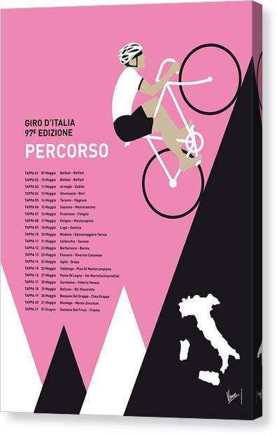 Tour De France Canvas Print - My Giro D Italia Minimal Poster 2014-percoso by Chungkong Art