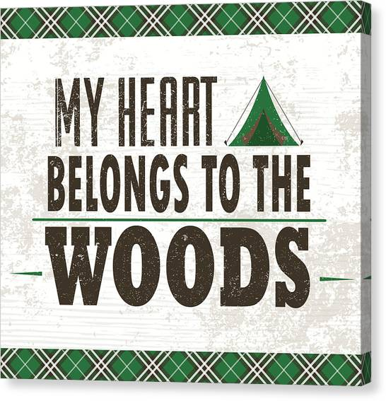 Flannel Canvas Print - My Heart Belongs To The Woods by Nd Art & Design