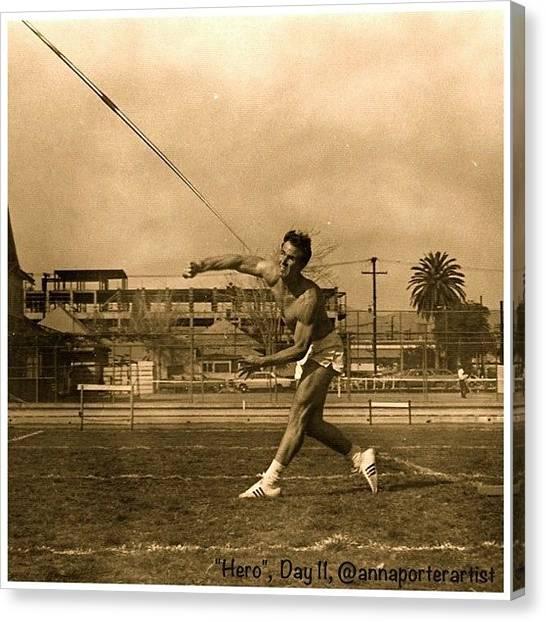 Athlete Canvas Print - My #hero, George Porter, 1968 by Anna Porter