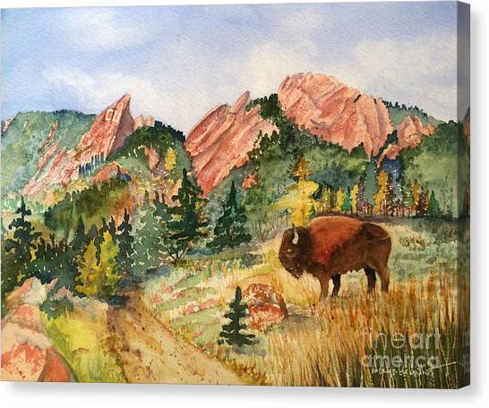 University Of Colorado Canvas Print - My Home Town by Donlyn Arbuthnot