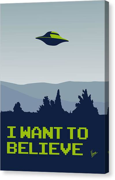 Aliens Canvas Print - My I Want To Believe Minimal Poster by Chungkong Art
