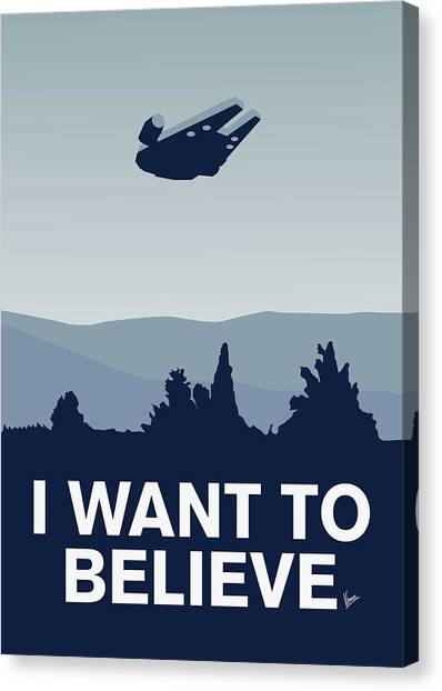 Aliens Canvas Print - My I Want To Believe Minimal Poster-millennium Falcon by Chungkong Art
