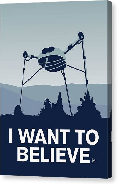 Aliens Canvas Print - My I Want To Believe Minimal Poster-war-of-the-worlds by Chungkong Art
