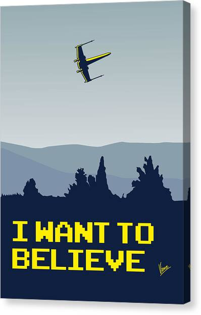 Aliens Canvas Print - My I Want To Believe Minimal Poster- Xwing by Chungkong Art