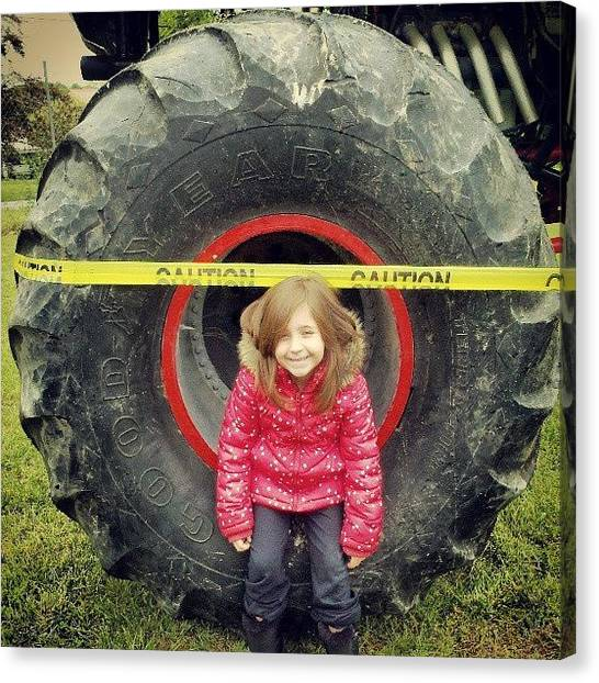 Mac Canvas Print - My Lil One Sitting In A Monster Truck by Greg Mac