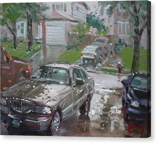 Town Canvas Print - My Lincoln In The Rain by Ylli Haruni