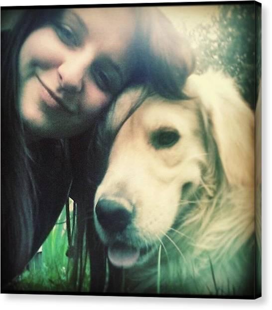 Golden Retrievers Canvas Print - My Love #love #instalove #skippy #dog by Kristina Grofelnik