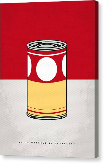 Andy Warhol Canvas Print - My Mario Warhols Minimal Can Poster-mushroom by Chungkong Art