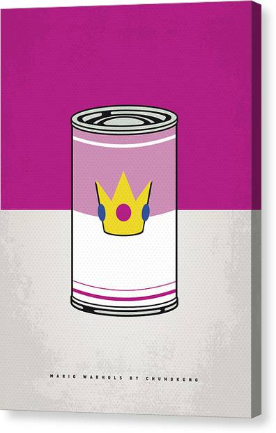 Super Mario Canvas Print - My Mario Warhols Minimal Can Poster-peach by Chungkong Art