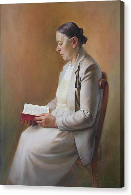 My Mother Reading The Bible Canvas Print