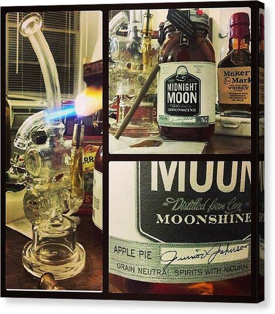 Whiskey Canvas Print - My Night :) #moonshine #dabbersdaily by Travis  Dutra Magweedo