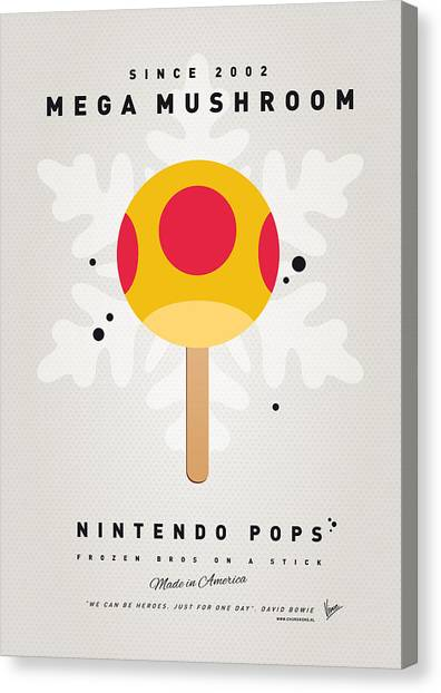 Peaches Canvas Print - My Nintendo Ice Pop - Mega Mushroom by Chungkong Art
