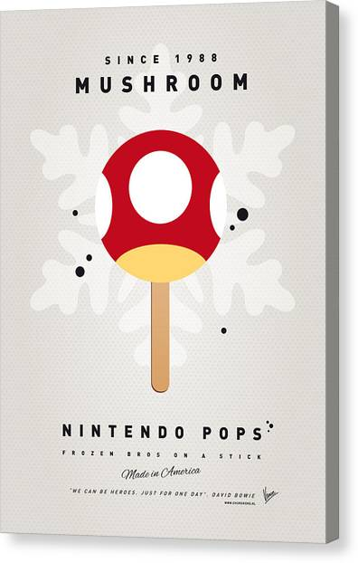Peaches Canvas Print - My Nintendo Ice Pop - Mushroom by Chungkong Art