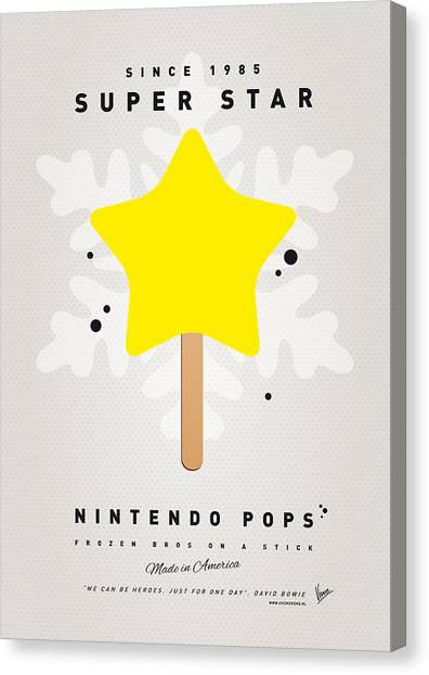 Coins Canvas Print - My Nintendo Ice Pop - Super Star by Chungkong Art