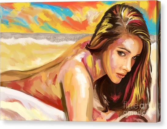 Bareback Canvas Print - Woman Study Big Brush by Tim Gilliland