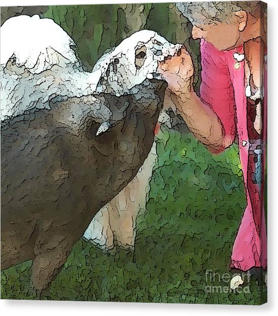 My Pig And Dog Friends Canvas Print