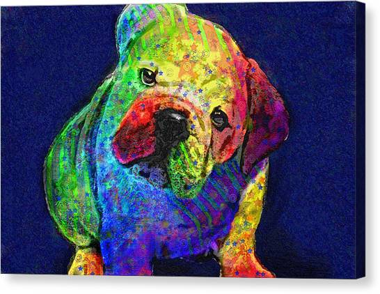 English Bull Dog Canvas Print - My Psychedelic Bulldog by Jane Schnetlage