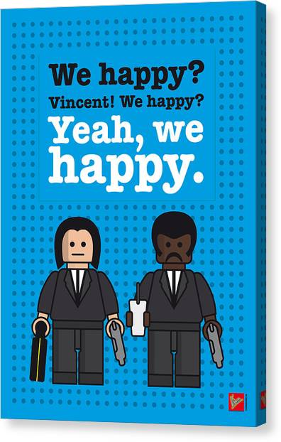 Pulp Fiction Canvas Print - My Pulp Fiction Lego Dialogue Poster by Chungkong Art