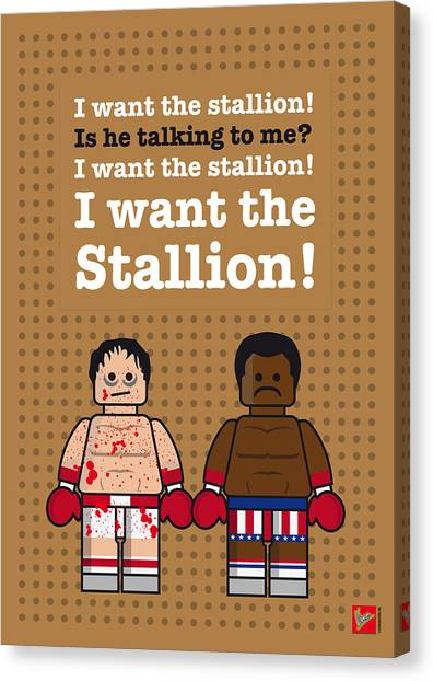 Boxing Canvas Print - My Rocky Lego Dialogue Poster by Chungkong Art