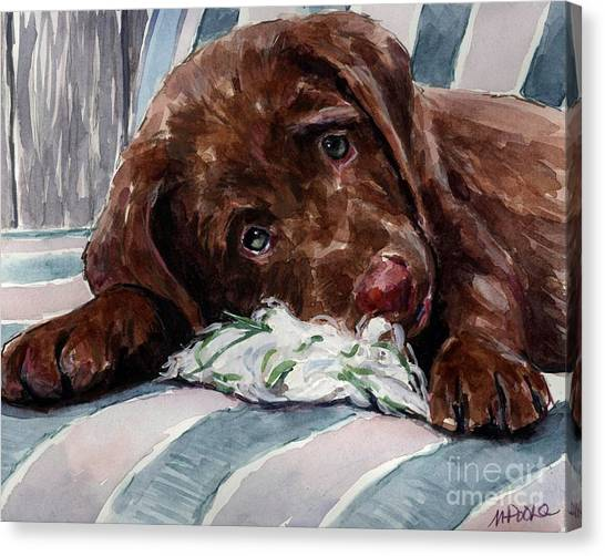 Chocolate Labrador Retriever Canvas Print - My Rope Toy by Molly Poole