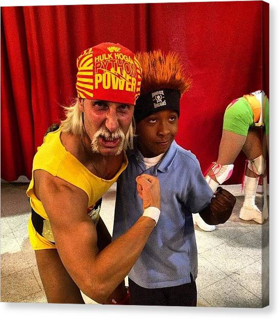 Wwe Canvas Print - My Son And The #hulkster!! #wwe by Jim Jones