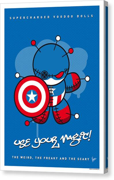 Doll Canvas Print - My Supercharged Voodoo Dolls Captain America by Chungkong Art
