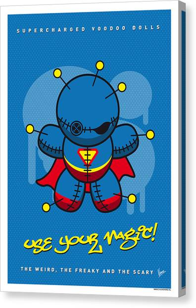 Doll Canvas Print - My Supercharged Voodoo Dolls Superman by Chungkong Art