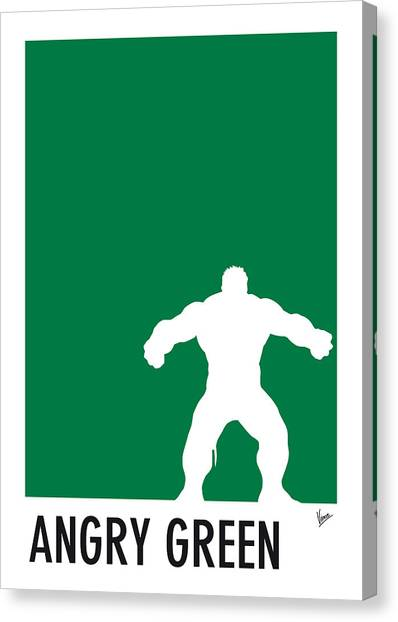 Spiders Canvas Print - My Superhero 01 Angry Green Minimal Poster by Chungkong Art