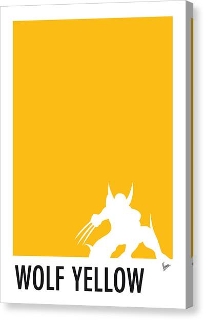 Men Canvas Print - My Superhero 05 Wolf Yellow Minimal Poster by Chungkong Art