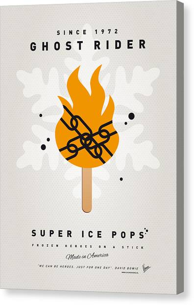 Halloween Canvas Print - My Superhero Ice Pop - Ghost Rider by Chungkong Art