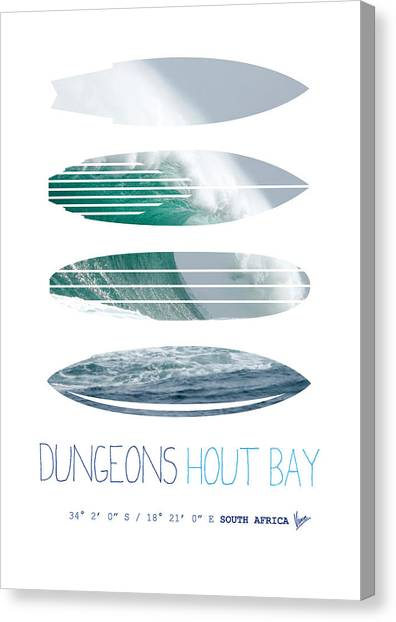 Surf Canvas Print - My Surfspots Poster-4-dungeons-cape-town-south-africa by Chungkong Art