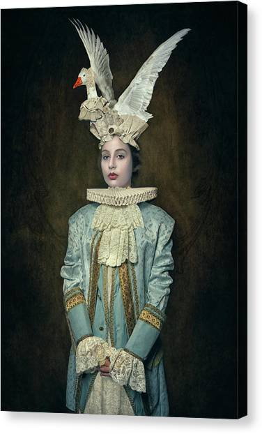 Swan Canvas Print - My Swan Hat by Carola Kayen-mouthaan
