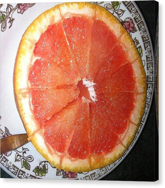 Grapefruits Canvas Print - My Tea! #dinner #tea #fruit #grapefruit by Rachel Ayres