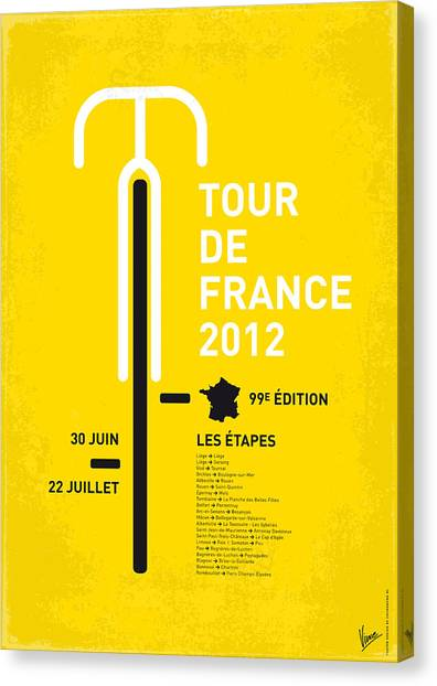 Tour De France Canvas Print - My Tour De France Minimal Poster 2012 Oud by Chungkong Art