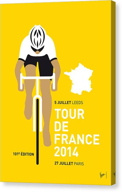 Bicycle Canvas Print - My Tour De France Minimal Poster 2014 by Chungkong Art