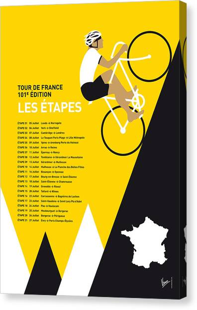 Bicycle Canvas Print - My Tour De France Minimal Poster 2014-etapes by Chungkong Art