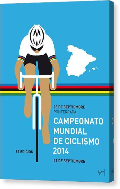 Cycling Canvas Print - My Uci Road World Championships Minimal Poster 2014 by Chungkong Art
