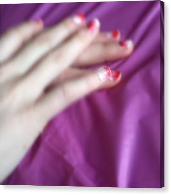 Valentines Day Canvas Print - My Valentine's Day Nails :) <3 by Jamiee Spenncer