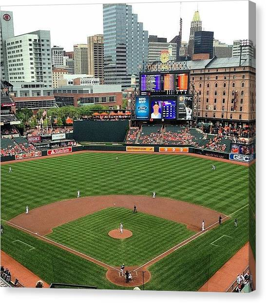 Baltimore Orioles Canvas Print - My View This Afternoon #fun #orioles by Sara Norris