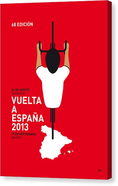 Tour De France Canvas Print - My Vuelta A Espana Minimal Poster - 2013 by Chungkong Art