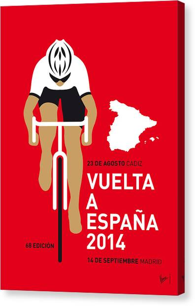 Bicycle Canvas Print - My Vuelta A Espana Minimal Poster 2014 by Chungkong Art