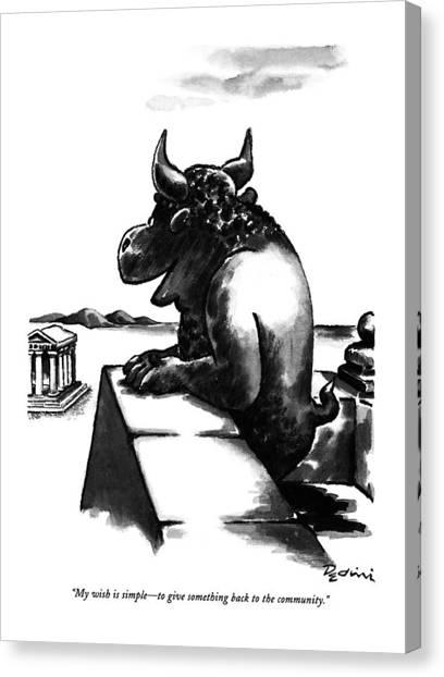 Minotaur Canvas Print - My Wish Is Simple - To Give Something Back by Eldon Dedini