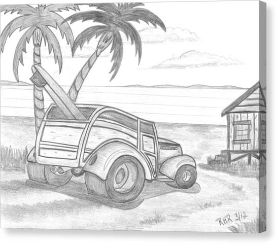 Surfboard Canvas Print - My Woody by Ray Ratzlaff