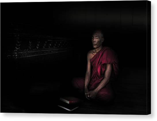 Monks Canvas Print - Myanmar - Meditation by Michael Jurek